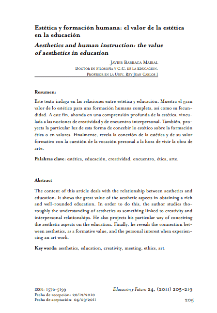 Javier Barraca: Estética y Formación