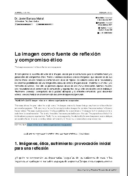 Cátedra de Estética Portada del Artículo de J. Barraca